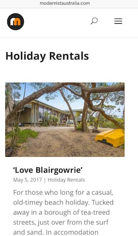 Featured by Modernist Australia in May 2017 as their first featured mid century holiday rental.