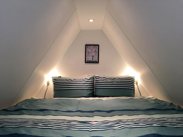 The cosy and comfortable double bed