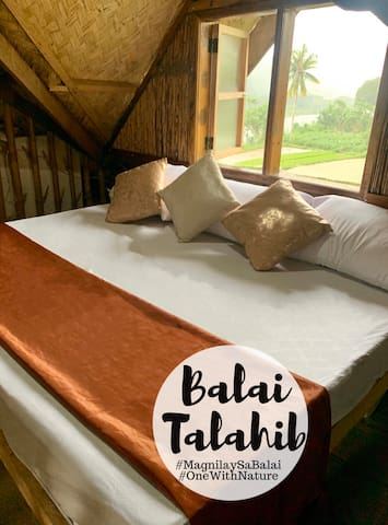 One of the beds in the mezzanine of Balai 1 (Bedroom 2), which has a view of the neighboring rice field/ palayan.