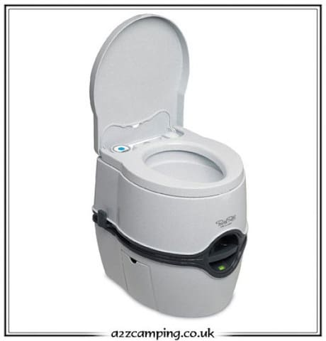 This is the porta potti in the water closet inside the guest house. It's very clean and doesn't smell at all.
