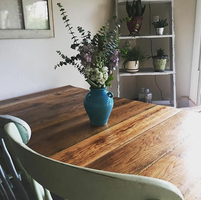 Homemade 8ft barn wood table. Plenty of space!