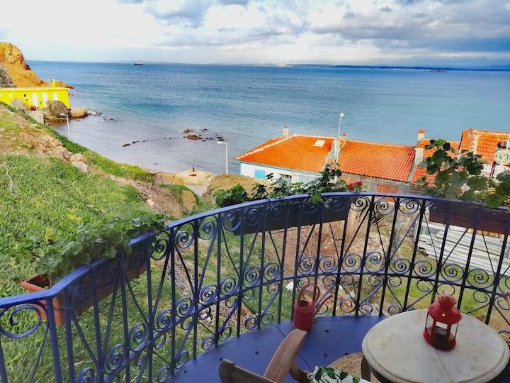 Bozcaada Mavi Kuş/Deniz Manzaralı Eski Rum Evi