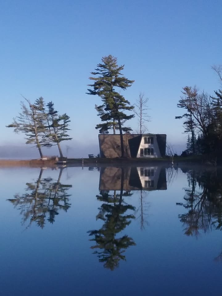 Private Island with Lakefront Cabin on three sides