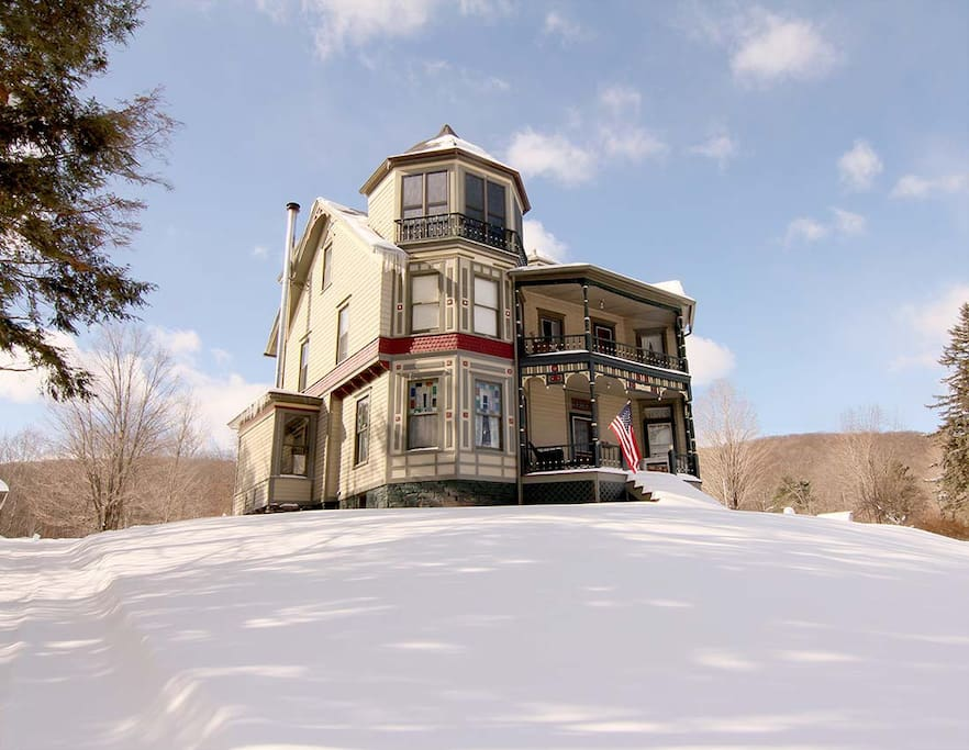 Our Victorian house in winter.
