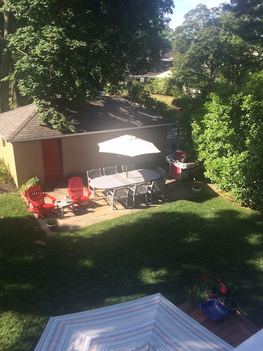 Backyard with grill and seating for many