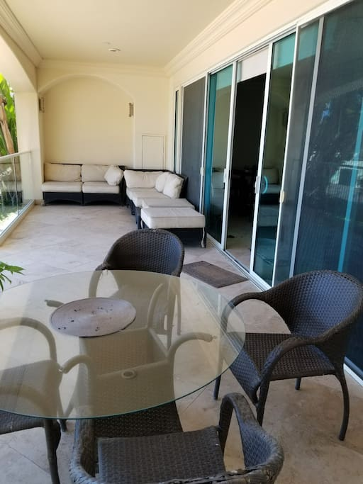 Patio with direct beach and pool access