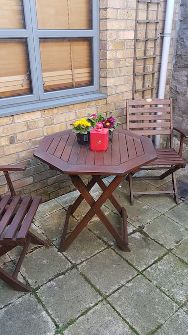 Private garden patio at back