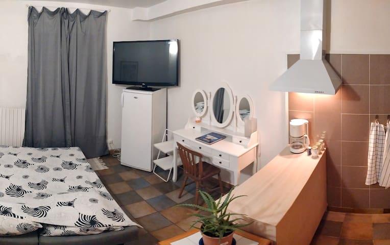 """Voici votre studio en configuration """"dodo"""" avec le canapé lit déplié. Tout est fourni, drap-housse, couette et oreillers."""