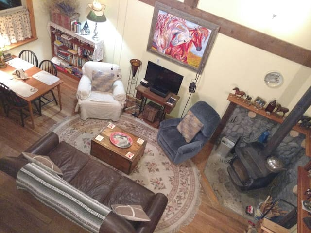 What you see is what you get! Downstairs great room with vaulted open beam ceiling, wood stove, TV, comfy leather and fiber seating, study desk and table with seating for 4.