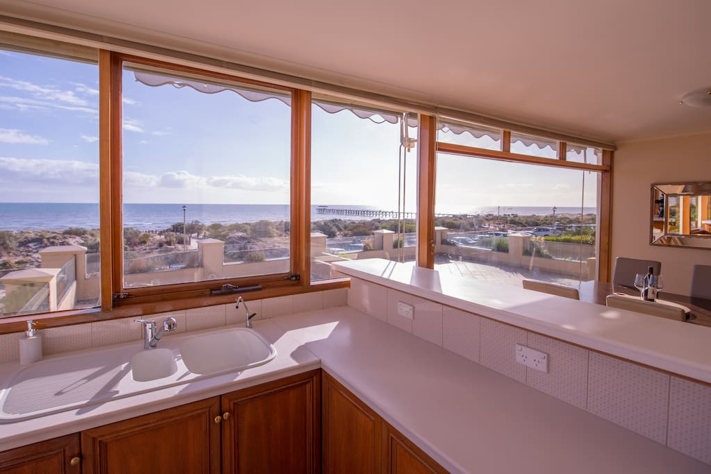 If you must wash the dishes (and you don't really need to...there is a Miele dishwasher), at least it's good to have a stunning view.