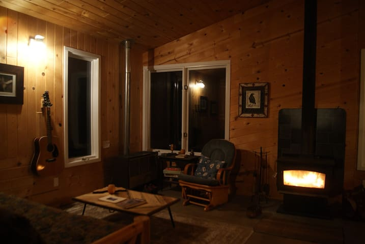 The wood stove provides warm ambiance - it is a supplemental heat source to the propane furnace.