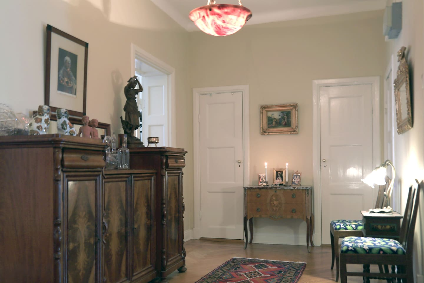 old furniture gives charm to the apartment