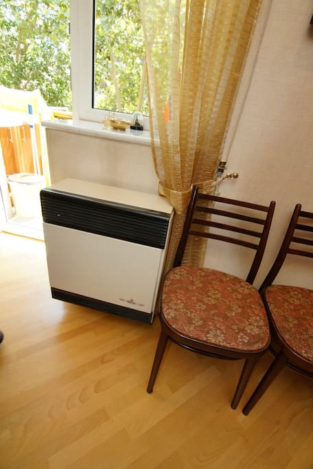 Gas heater with exhaust to the outside. Also the air conditioner and another electric heater can be used for heating.