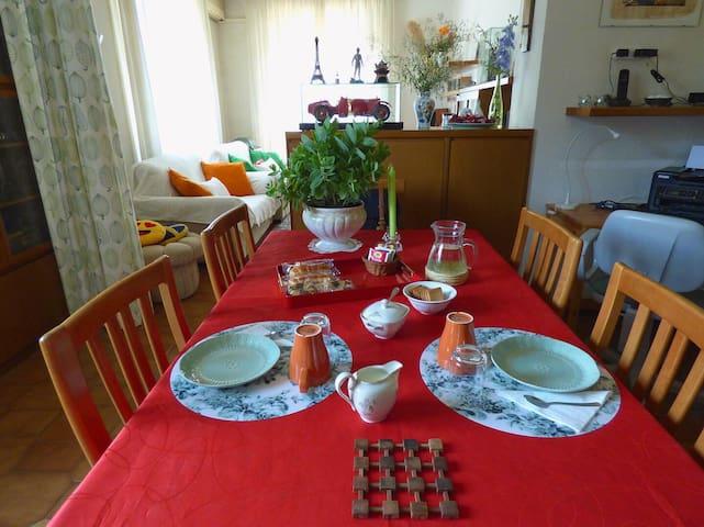 The living-room (prepared for having breakfast)