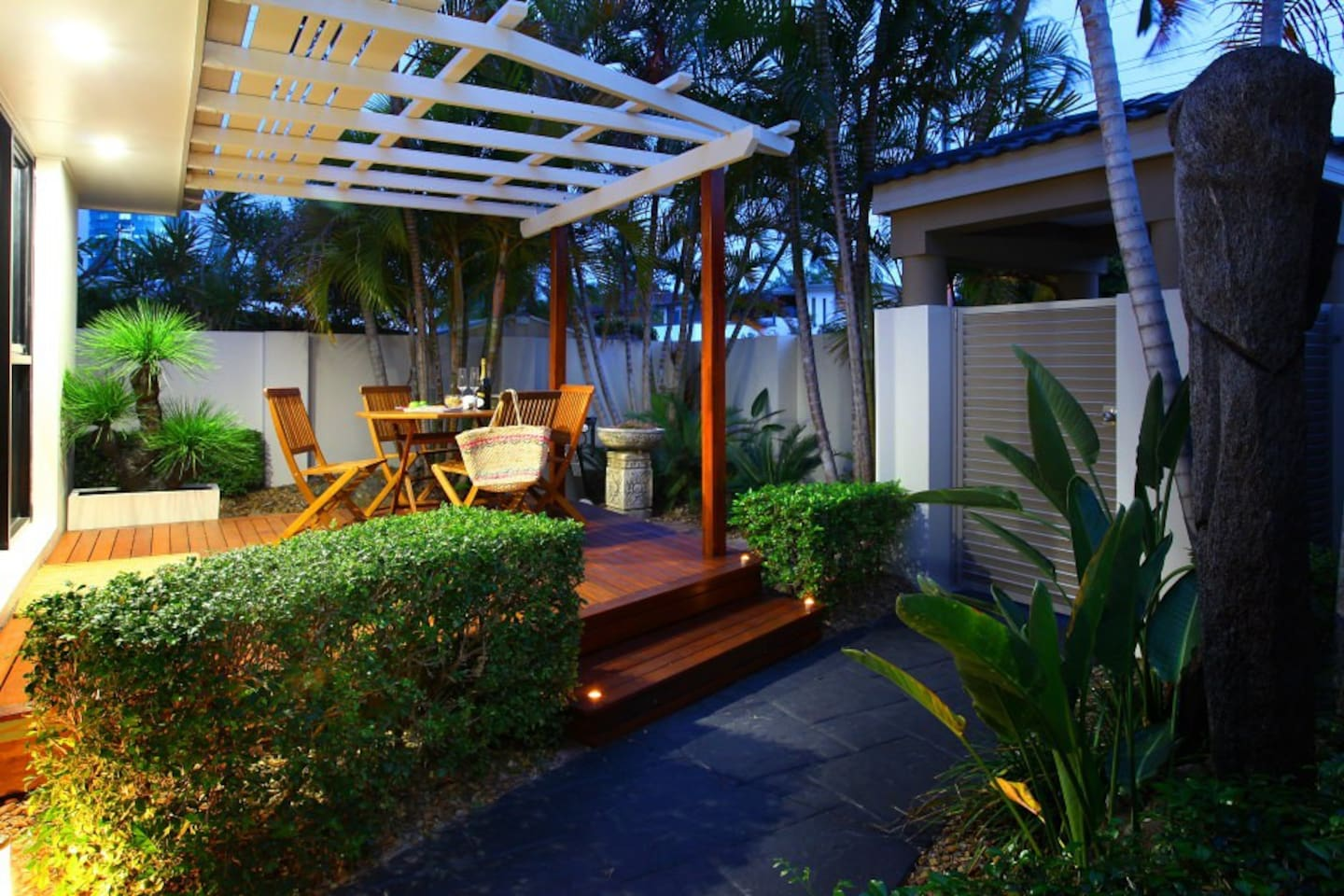 Dine on your own private deck with security keypad entry