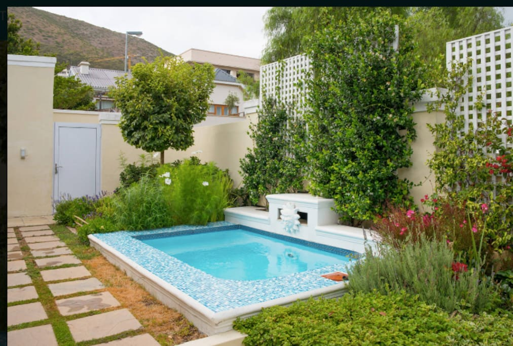 Perfect size plunge pool with giant step to immerse yourself in!