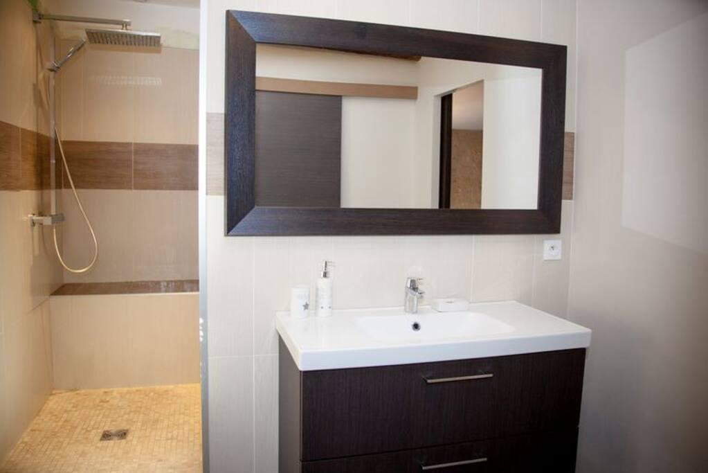 Salle de bains avec douche italienne spacieuse