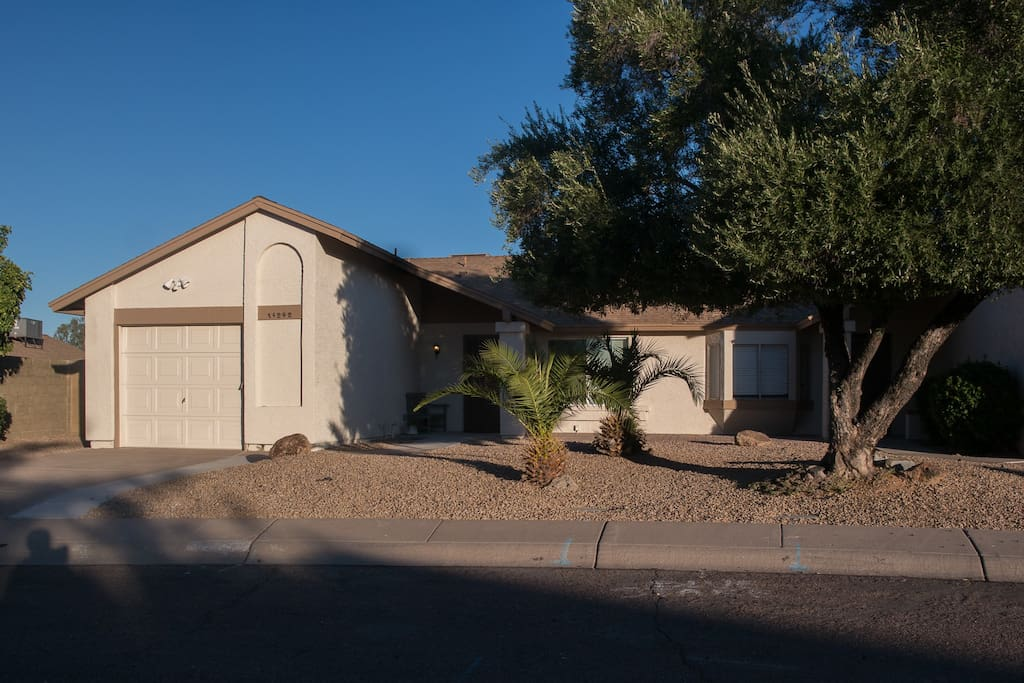 The home is located on a  quiet cul-de-sak and  shares a common wall with a second home. There is a security gate at the front door with deadbolt.    We live full time in the cul-de-sak and consider the area very safe.