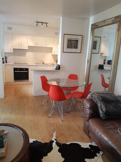 Stylish furniture, comfy leather couch. 40 inch TV with Netflix. Well equipped kitchen with new oven and stovetop