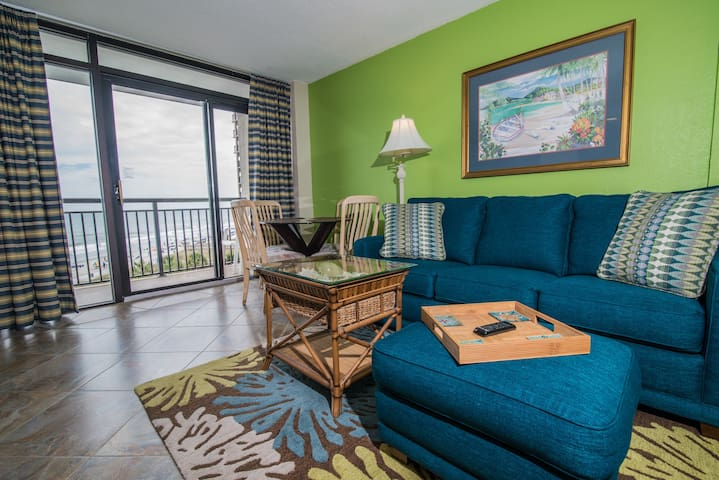 Perfect for Family Beach Getaway. Oceanfront Balcony Overlooks Resort and Beach.
