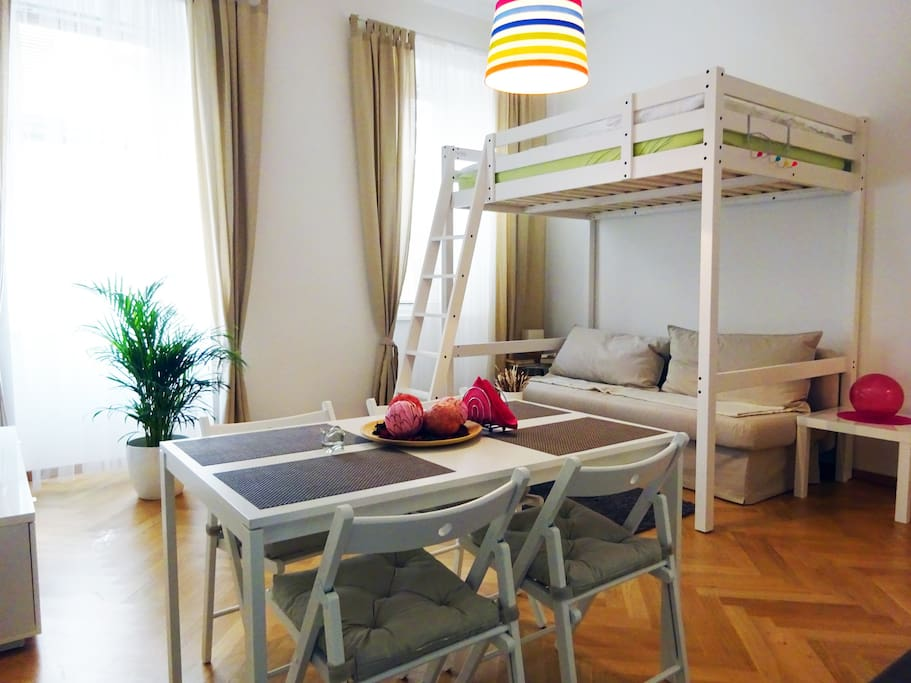 bunk bed, for 2 persons, pull out sofa for 2 persons, dining table