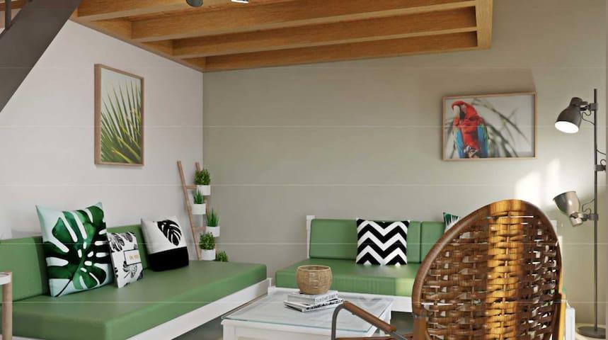 (B6) 2Level,1bdr Terrace+Balcony,7' to beach