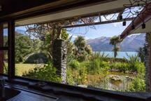 The amazing view from the kitchen window of lake Wakatipu.