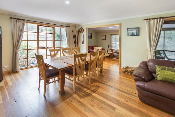 The spacious and light-filled open plan dining area!