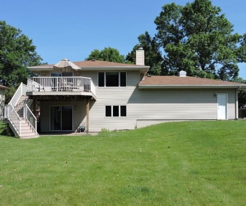 Beautiful backyard with deck and lower level walk-out patio