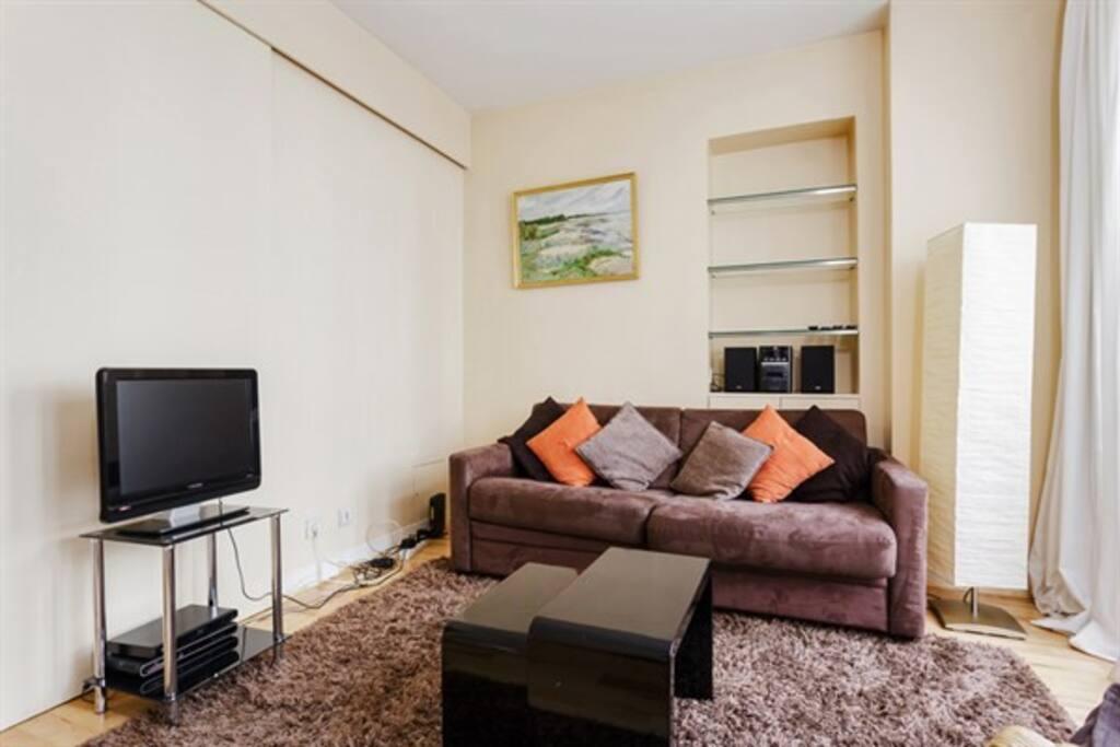 La TV avec écran plat et Internet