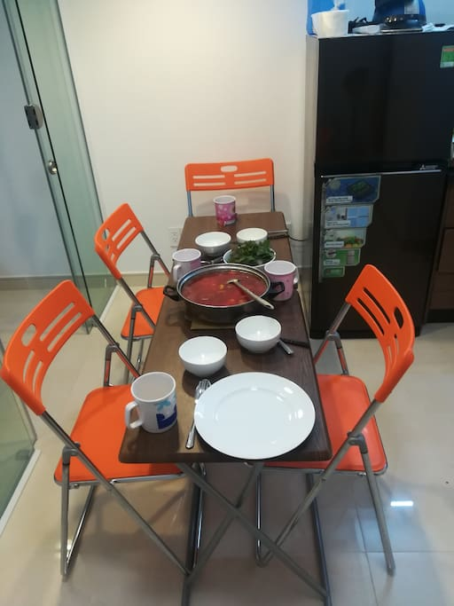 these dining  tables can be expanded to accomodate upto six guests
