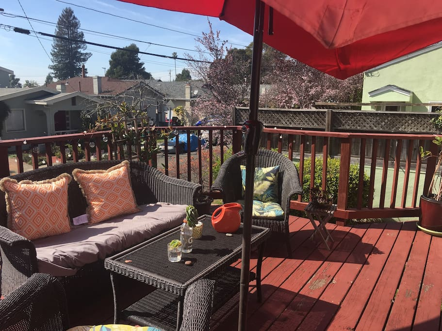 Sunny deck in the front of home