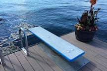 Diving board on dock