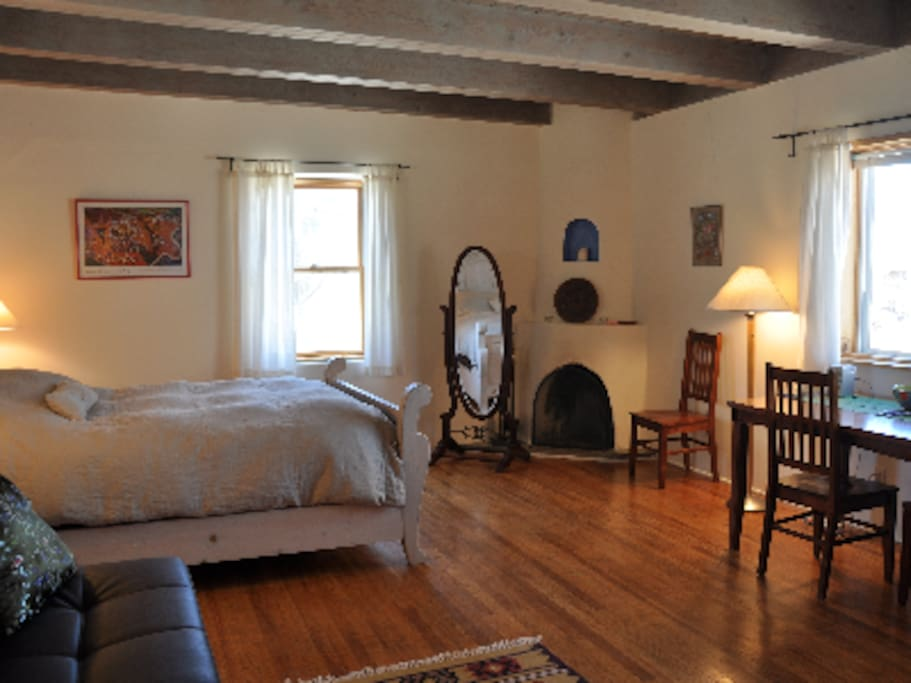 The Lone Butte Casita has a sunset view, kiva fireplace and beautiful beamed ceilings.