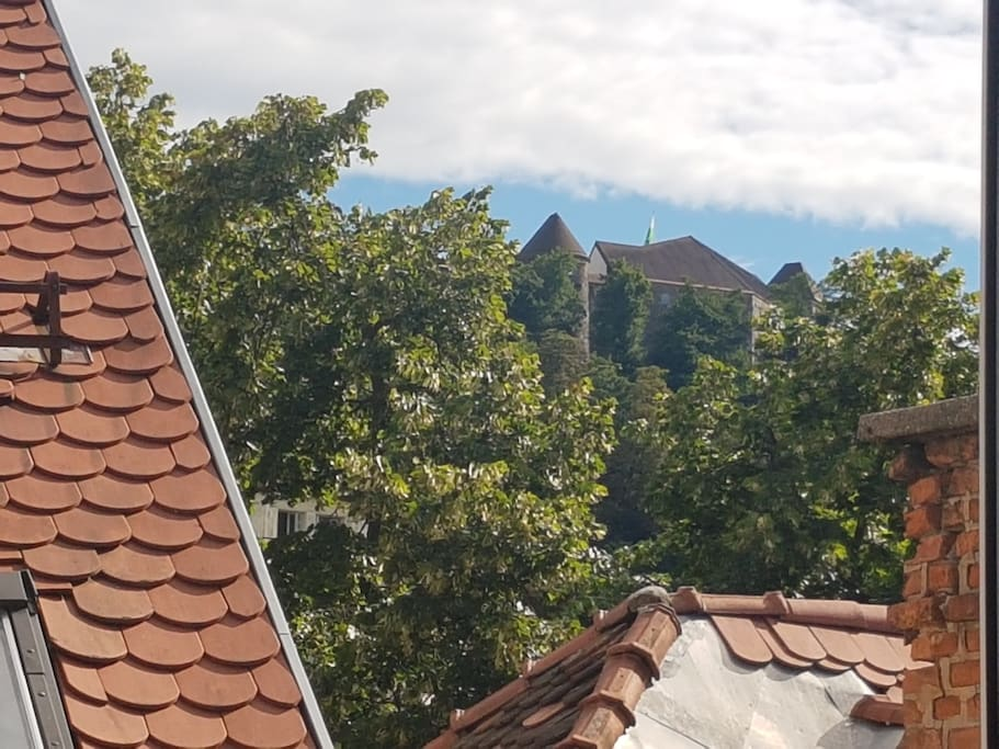 """""""Perfect location in city center"""" - by Joacim. View of Ljubljana Castle from the dining area"""