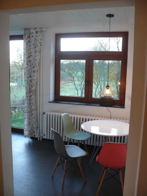 Wohnküche mit Aussicht in den Garten