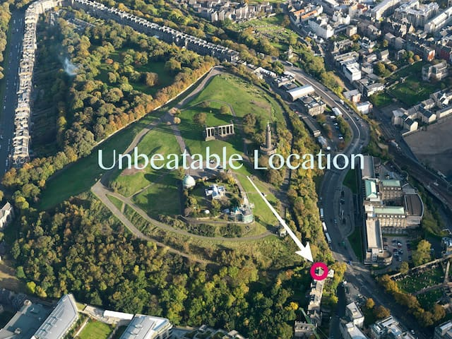 Literally next to Calton hill and only a short walk from Waverley Station