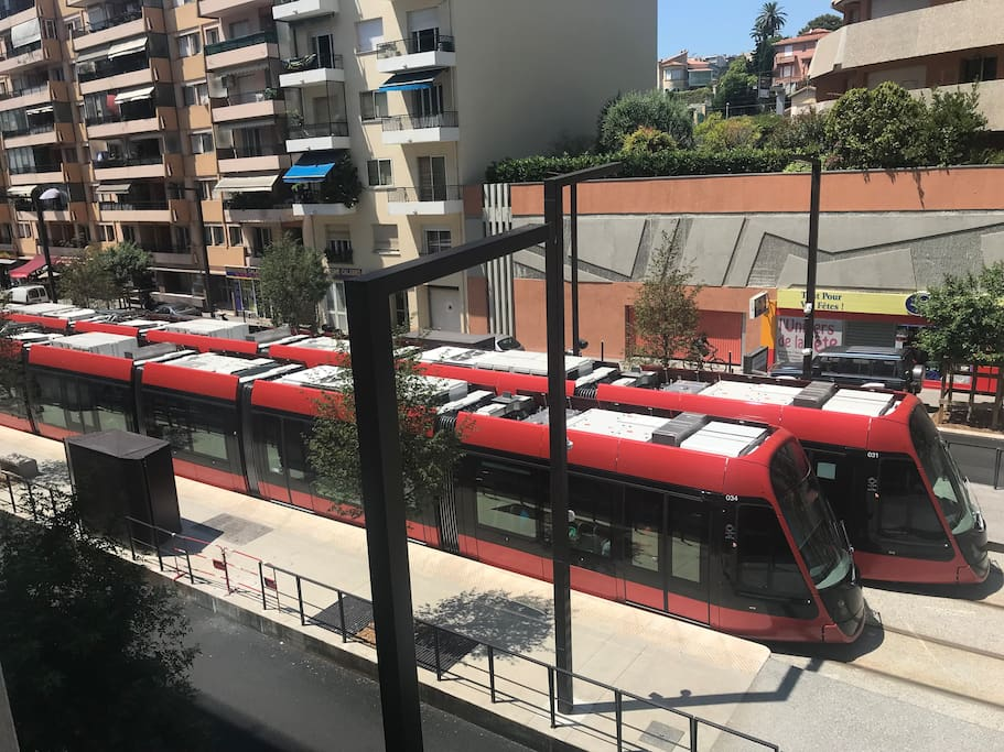 Ste Helene tram stop located at our back door. 10 minutes to/from the airport. Connecting to Nice Centre; Old Town and Harbour from mid-2019.