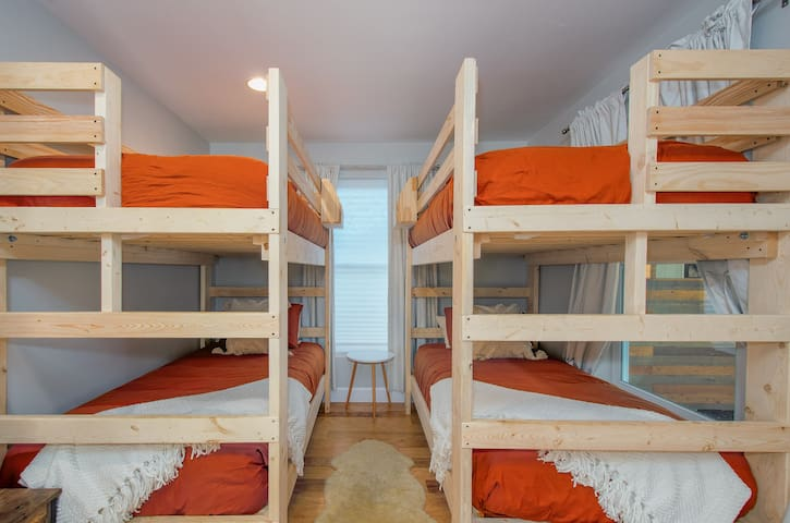 Adult comfort approved bunk room.