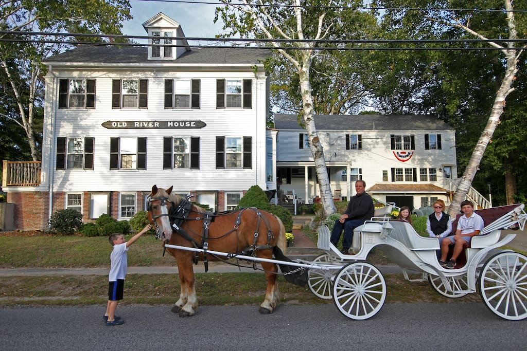 Horse drawn Carriage rides at the Old River House    Kennebunkport.