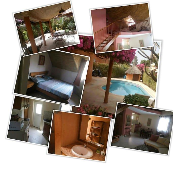 Dans une résidence calme une villa de 2chbr ,mezzanine ,2salle de bain ,jardin fleuri et une belle piscine