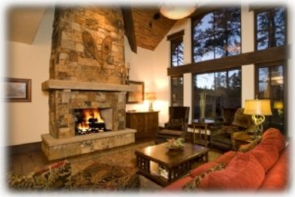 Great Room with Vail stacked stone gas fireplace
