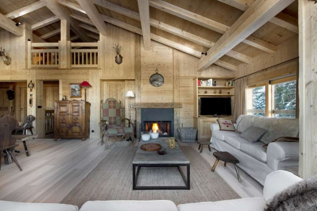 Cosy living room with a fireplace
