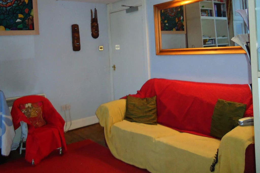 This is your Lovely Sofa that makes into a Bed.  In the livingroom but we will give you your space after dinner as needed.  Sometimes we have a private room (like during student holidays) so please ask.