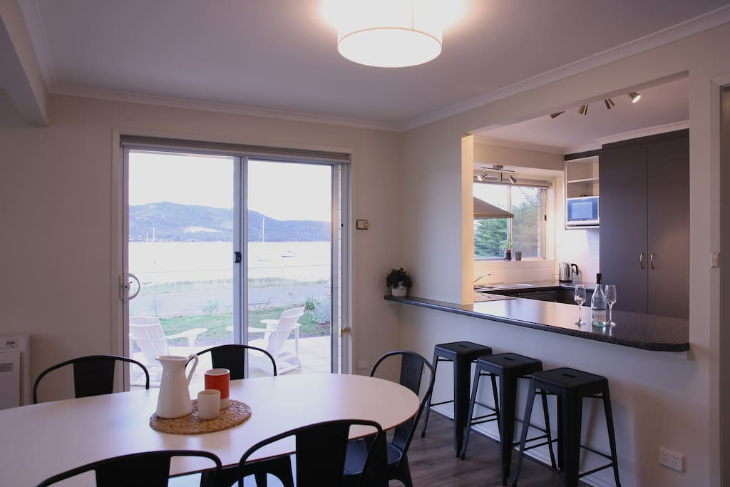dining & kitchen with view