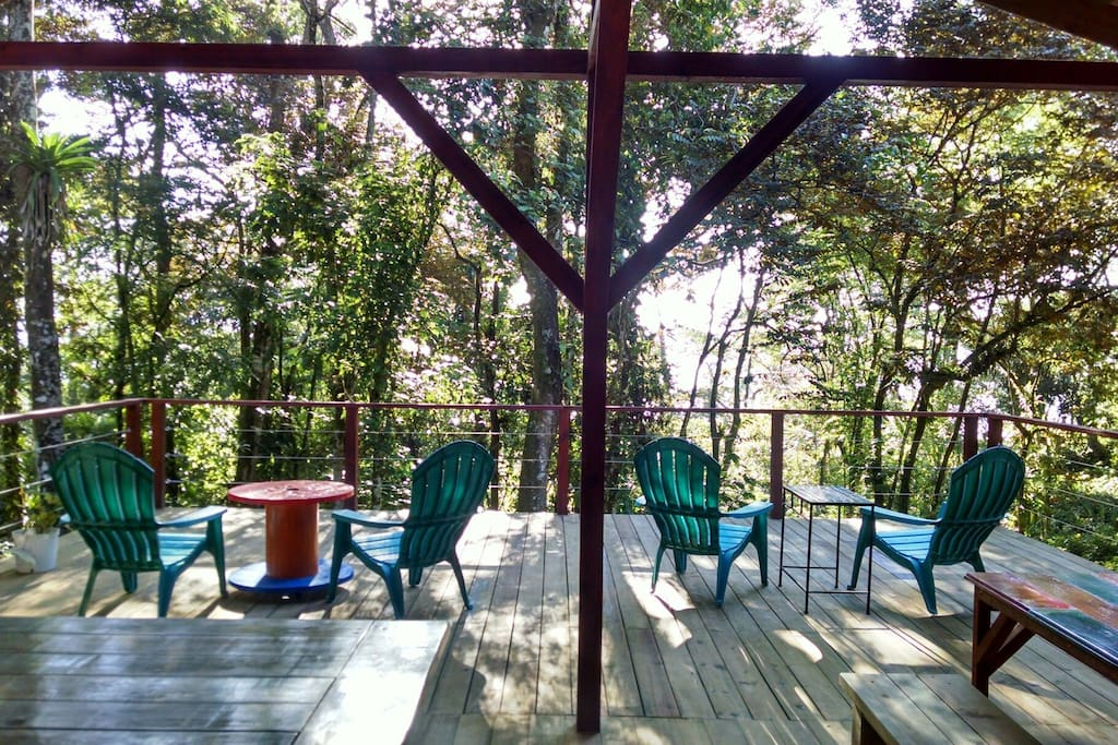 View out into the tree tops from the shared, common area deck