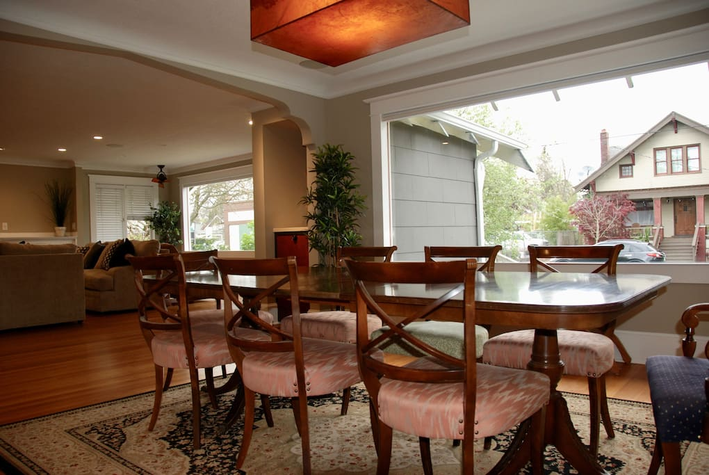 The large windows have cellular bottom-up blinds for privacy and insulation
