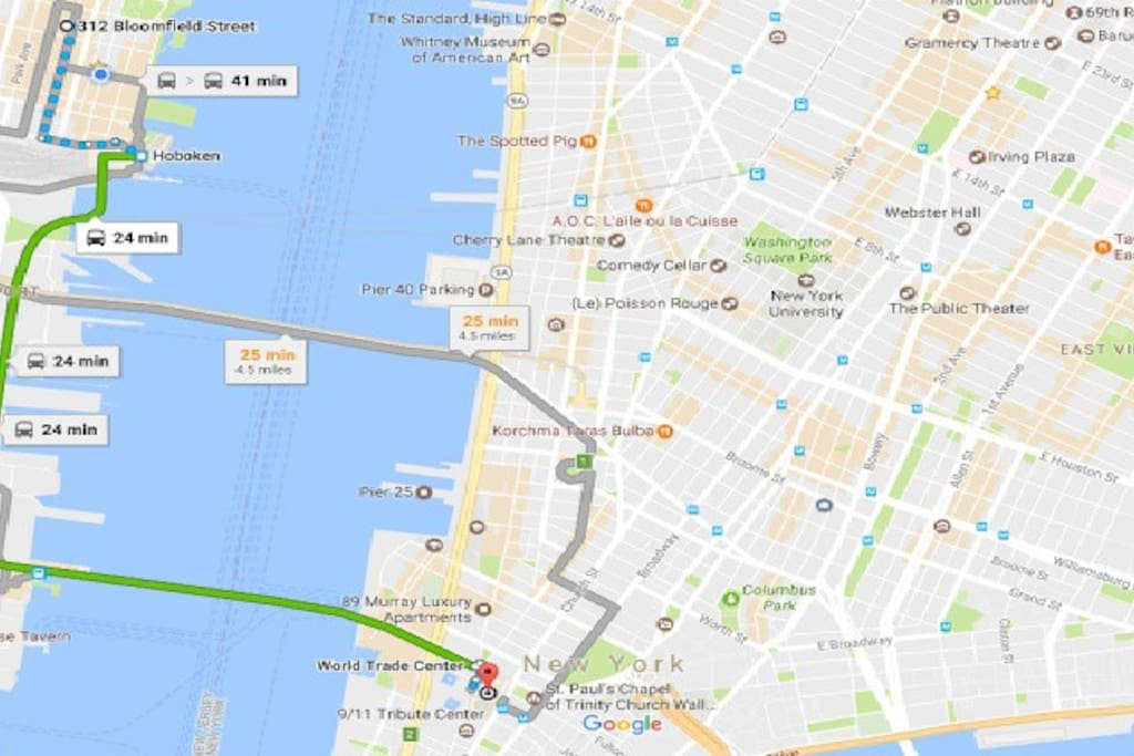 It takes 24 minutes door-to-door to World Trade Center and 30 minutes to Empire State Building