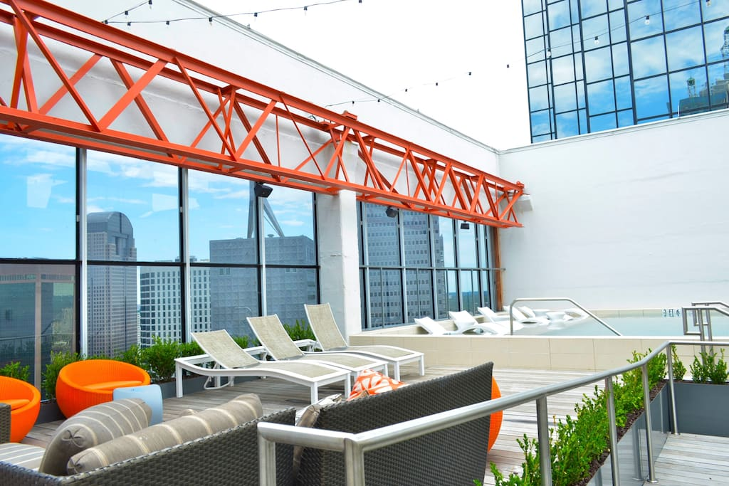 rooftop pool + hangout area