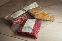 We offer our guest antibiotic and steroid free, grass fed/finished beef and farm raised pork. All USDA processed and packaged, and raised on site. It's also vacuum sealed for freshness, which has a freezer life of at least 18 months!